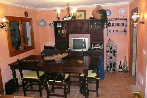 Dining area with wooden furniture