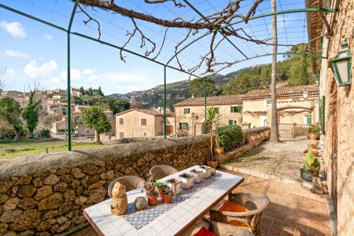 Sunny dining area on the terrace