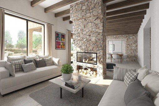 Open living area with fire place