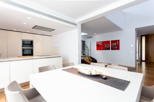 Open living, dining and kitchen area
