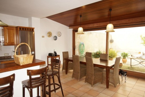 Dining area with large window front
