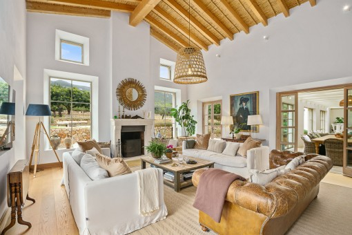 Inviting living area with high ceilings