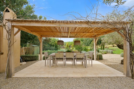 Covered garden dining area