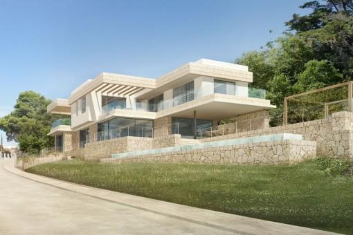 Modern, newly-built, beach-house style villa with sea views in Santa Ponsa