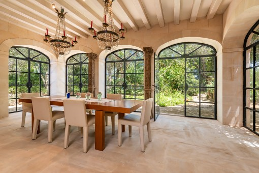 Bright dining area with large windows