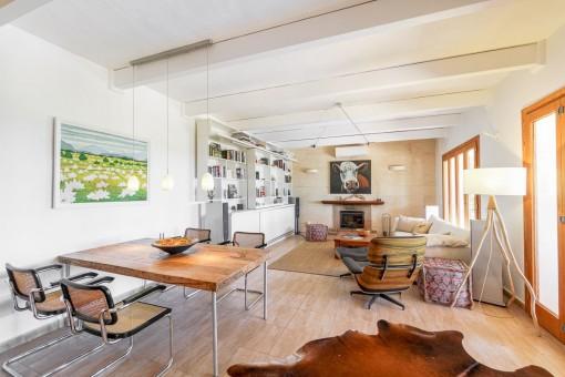 Modern living area dining area