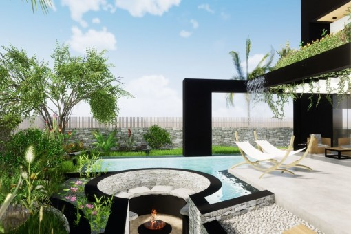 Terrace with outdoor fireplace