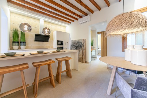 Tastefully designed dining area and kitchen