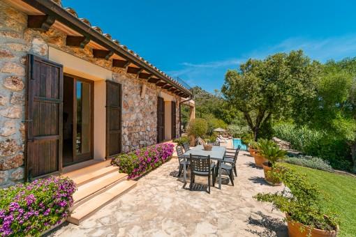Idyllic terrace and garden