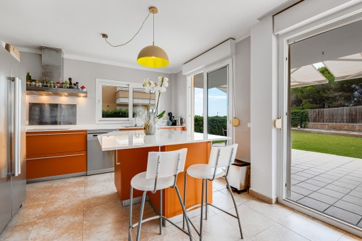 Modern kitchen with terrace access