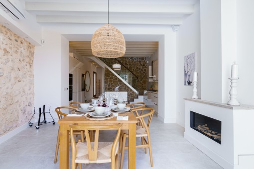 Dining area with fire place