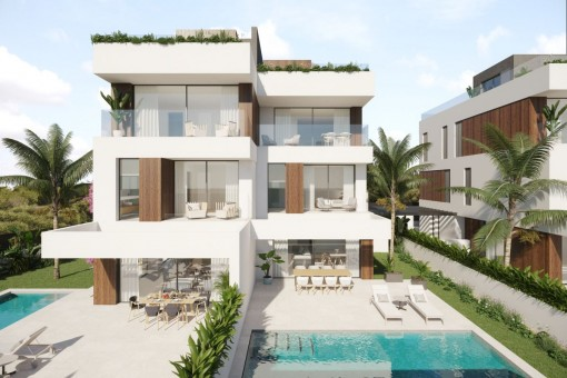 High-class project of semi-detached houses with 3 bedrooms, private pool and sea views in Portocolom