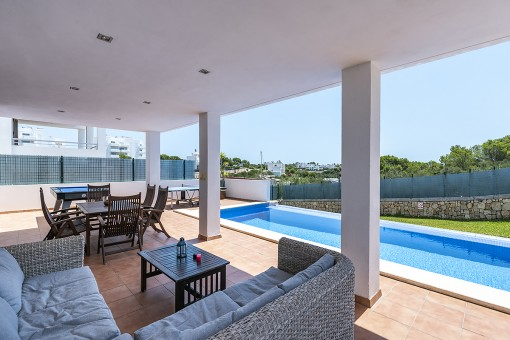 Large terrace next to the pool