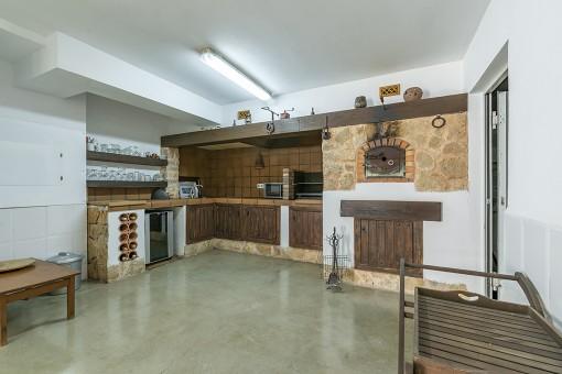 Rustic bodega/ kitchen in the basement