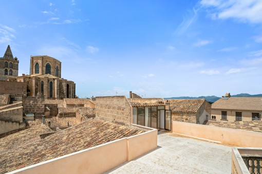 Large roof terrace with town views