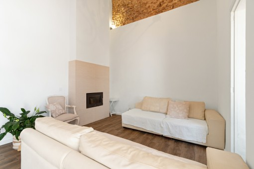 Living area wit fireplace and high ceiling
