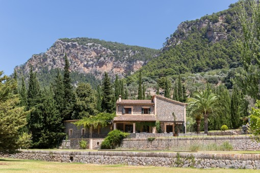View of the finca with mountain in the background