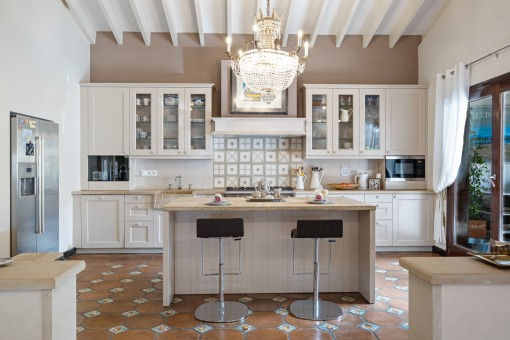 Rustic kitchen with cooking island