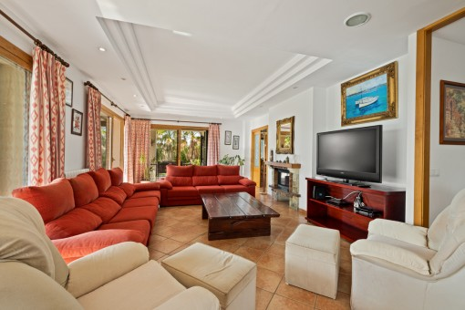 Large living area with fireplace