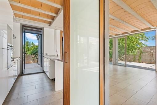 Modern kitchen with garden access