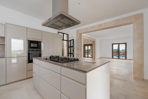 Half-open, modern kitchen