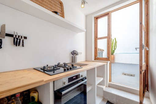 Kitchen with access to the patio