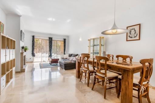 Bright dining and living area