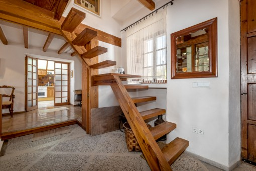 Wooden stairs to the upper floor