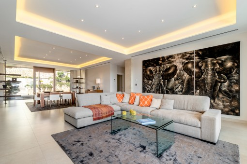 Modern, open living and dining area