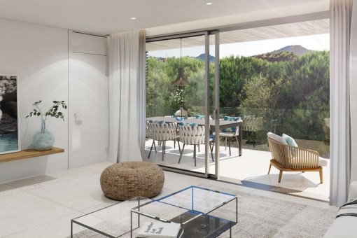 Newly built second floor apartment with terraces, communal pool and parking in Cala Ratjada