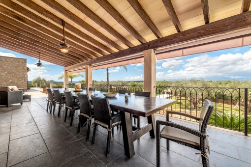 Large, covered outdoor dining area