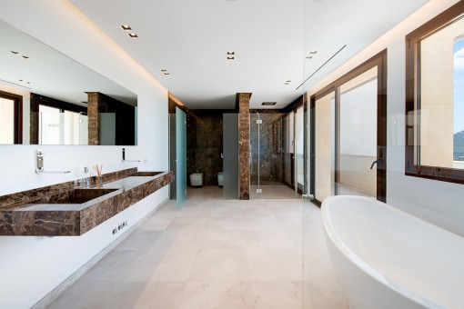 Bathroom en suite with both shower and bath tub