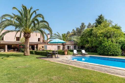Mediterranean garden and pool area