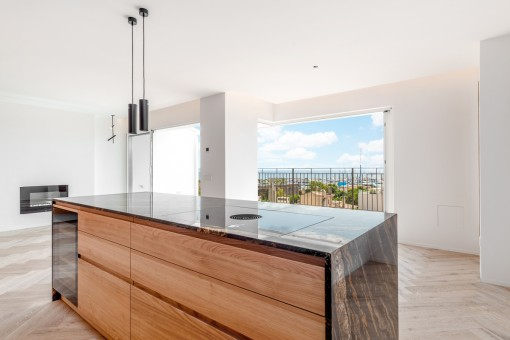 Open kitchen with balcony access