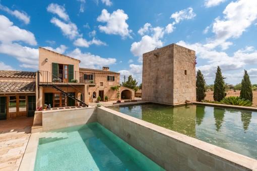 Modern pool with water reservoir behind