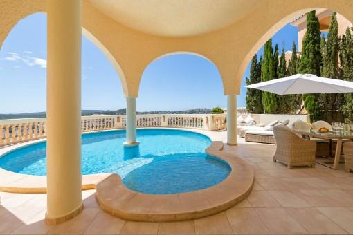 Pool area with wonderful sea views